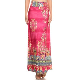 MOA Collection Pink Paisley Spandex Dusty Maxi Skirt