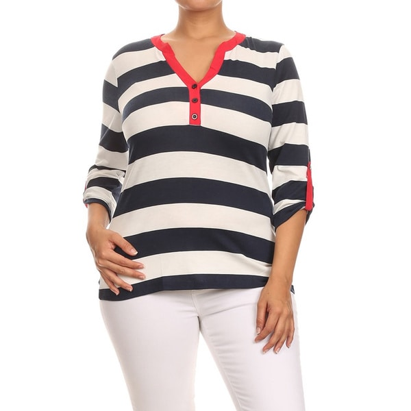 MOA Collection Women's Blue/White Plus Size Striped Top
