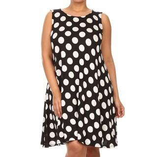 MOA Collection Women's White Polka-dot Rayon/Spandex Plus Size Polka Dot Top/Dress