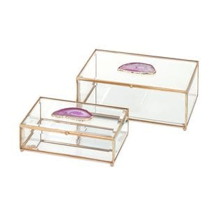 Maison Glass and Agate Boxes - Set of 2