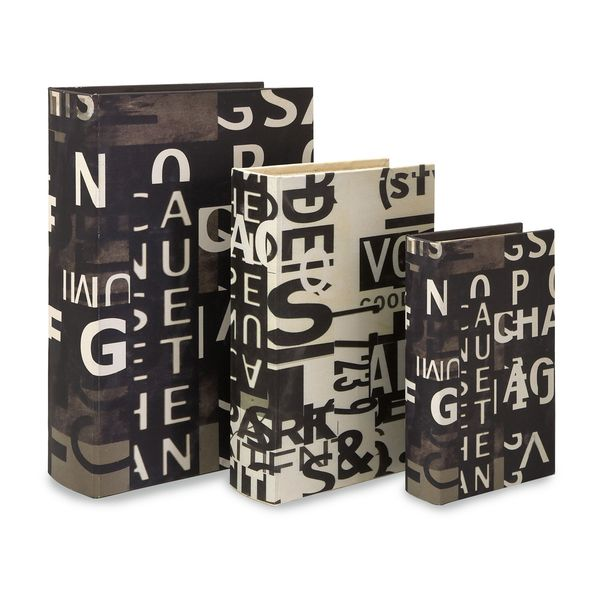 Text Collage Book Boxes - Set of 3