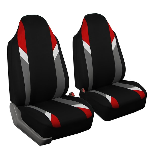 FH Group Modernistic Red & Black Fabric Auto Seat Covers (Set of 2)