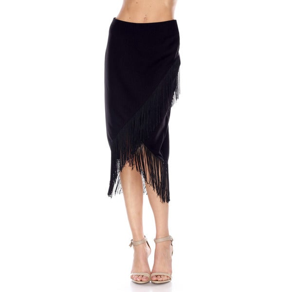 Stanzino Women's Fringe Detailed Black Pencil Skirt