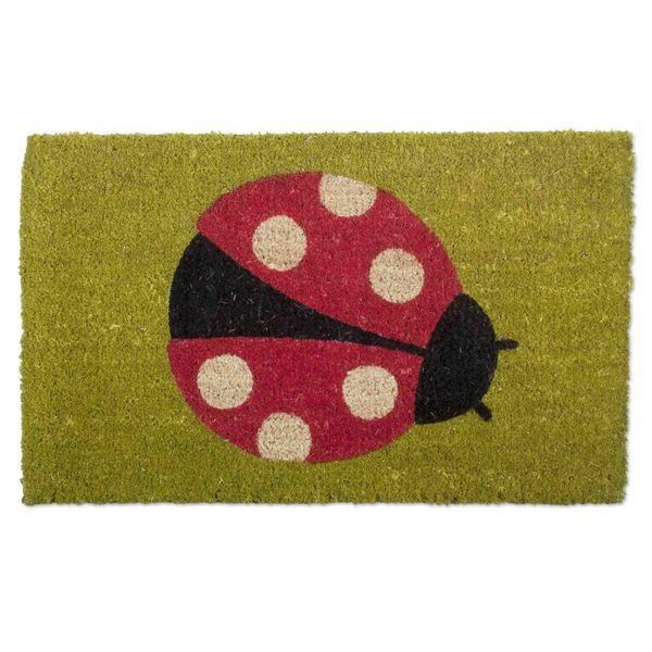 TAG Ladybug Print Green Coir Door Mat