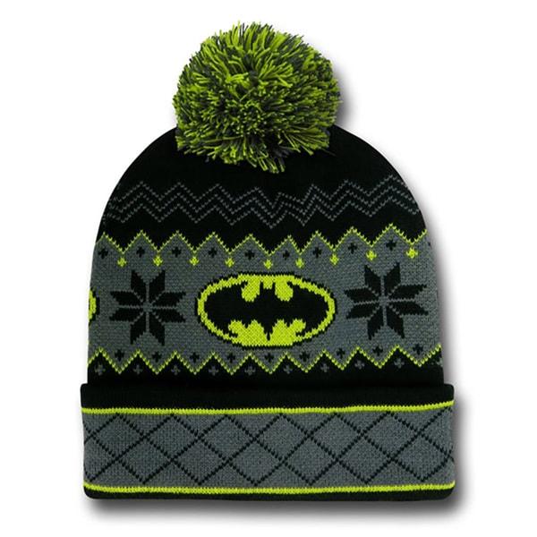 Batman Logo Pom Pom Beanie
