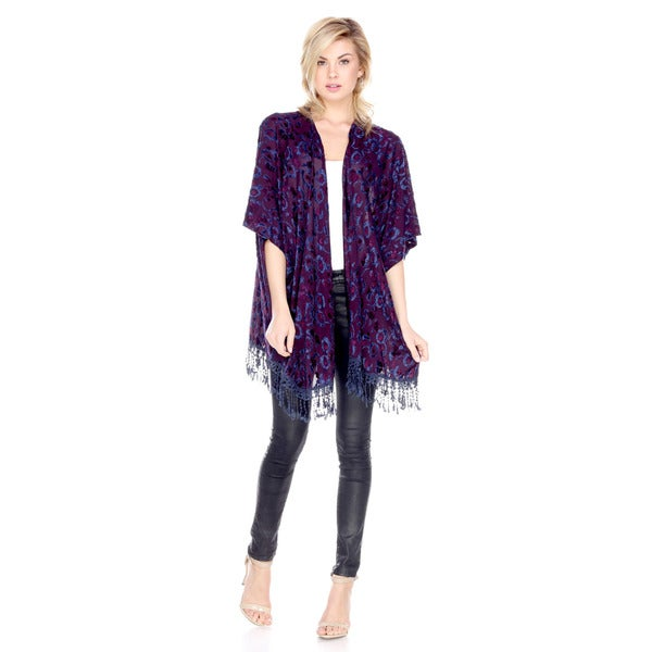 Stanzino Women's Purple Polyester/Nylon Fringed Printed Cardigan