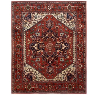 Herat Oriental Indo Hand-knotted Serapi Red/ Ivory Wool Rug (8' x 10'3)