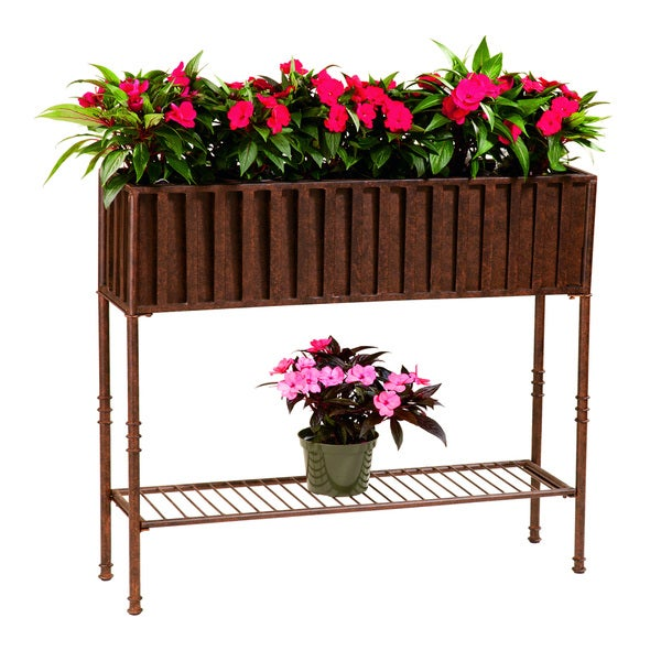Solera Floor Planter with Tin Liner and Shelf