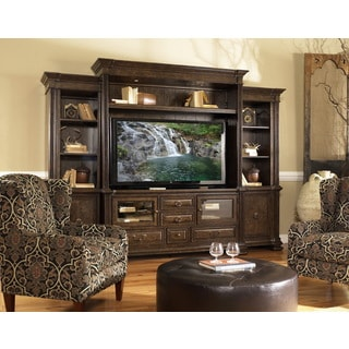 Estella Entertainment Wall with Display Piers in Dark Brown