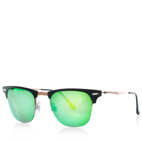 Ray-Ban Men's Clubmaster Light Ray Brown Sunglasses, Blue Lenses - Rb8056 8053672430660