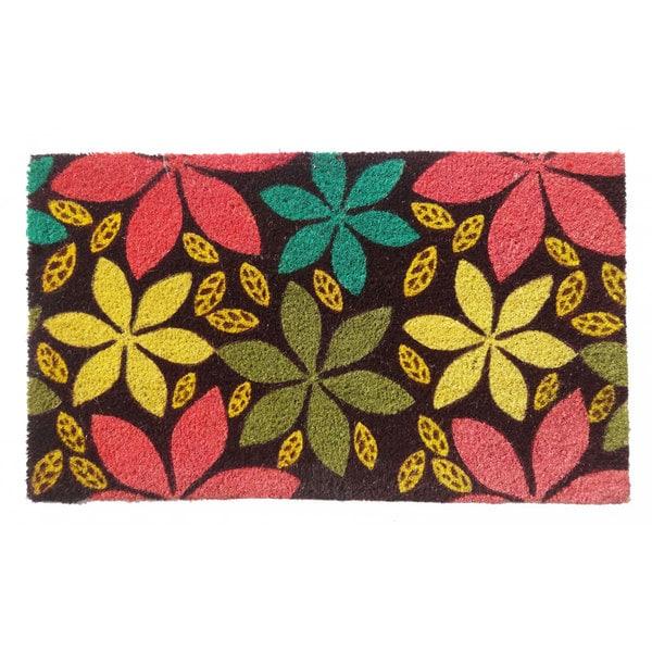 Multi Color Flower Coir Doormat