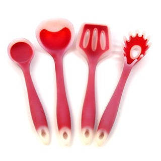 4-piece Utensil Set- Includes; Ladle Slotted Turner Spoon Pasta Fork Frosted Red