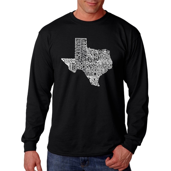 Men's Los Angeles Pop Art Texas State Black Cotton Long Sleeve T-Shirt