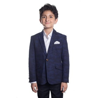 Elie Balleh Boy's Milano Italy 2016 Style Slim Fit Jacket/Blazer with Navy and Black Camo Design