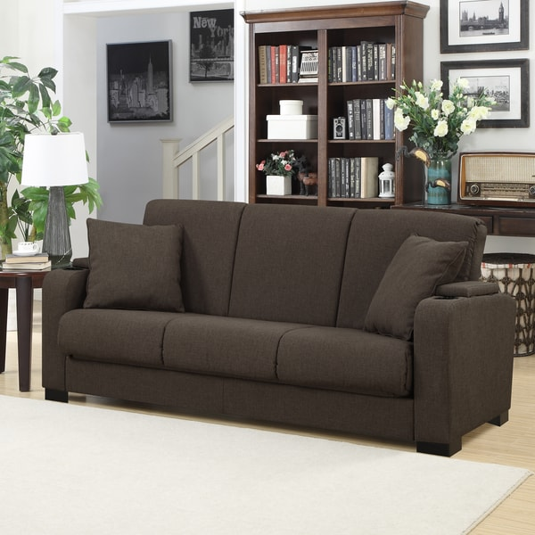 Portfolio Storage Arm Convert-a-Couch Brown Linen Futon Sleeper Sofa
