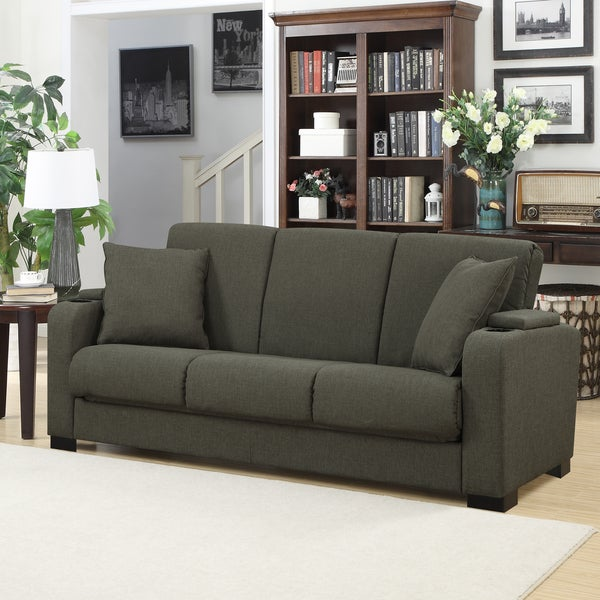 Portfolio Storage Arm Convert-a-Couch Basil Grey Linen Futon Sleeper Sofa