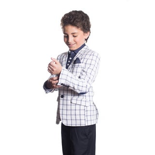 Elie Balleh Boy's Milano Italy 2016 Style Slim Fit Jacket/Blazer in Navy and White Plaid
