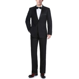 Verno Men's Classic Fit Black Two-piece Ribbon Finish Tuxedo