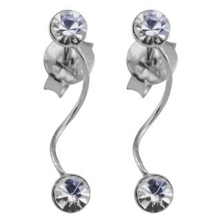 Sterling Silver Crystal Wire Swirl Drop Earrings