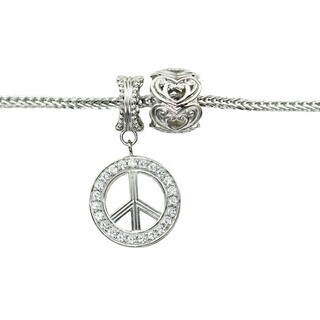 Michael Valitutti Cubic Zirconia Peace Sign and Two-Tone Heart Charm Bracelet