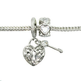 Michael Valitutti Cubic Zirconia Heart and Lock with Eternity Heart Charm Bracelet