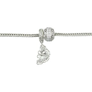 Michael Valitutti Cubic Zirconia Butterfly and Eternity Charm Bracelet