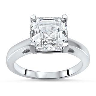 Noori 14k White Gold 2 2/5ct TGW Asscher-cut Moissanite Solitaire Engagement Ring