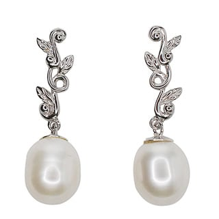Kabella Sterling Silver Freshwater Pearl Leaf Dangling Earrings - 9mm
