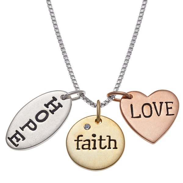 Tri-color over Silver 'Hope, Faith, Love' Charm Pendant