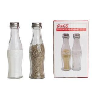 Sunbelt Gifts Clear Glass Coca-Cola Salt and Pepper Shaker Set