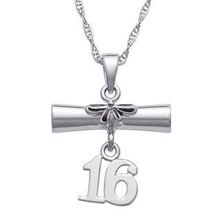 Sterling Silver Diploma and '16 Grad Pendant