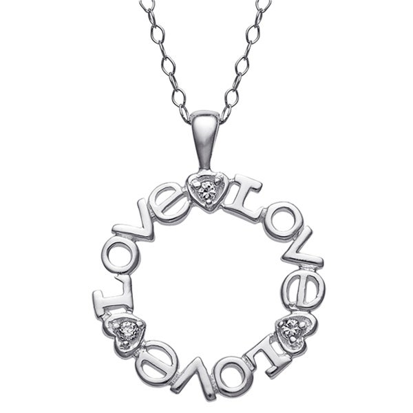 Sterling Silver Love Cubic Zirconia Sentiment Pendant