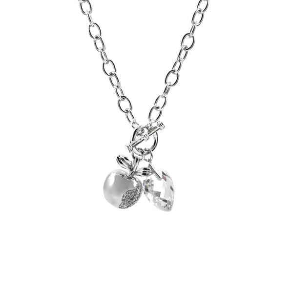 Silvertone Cubic Zirconia Charm Necklace