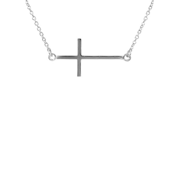 Brass Sideways Cross Necklace