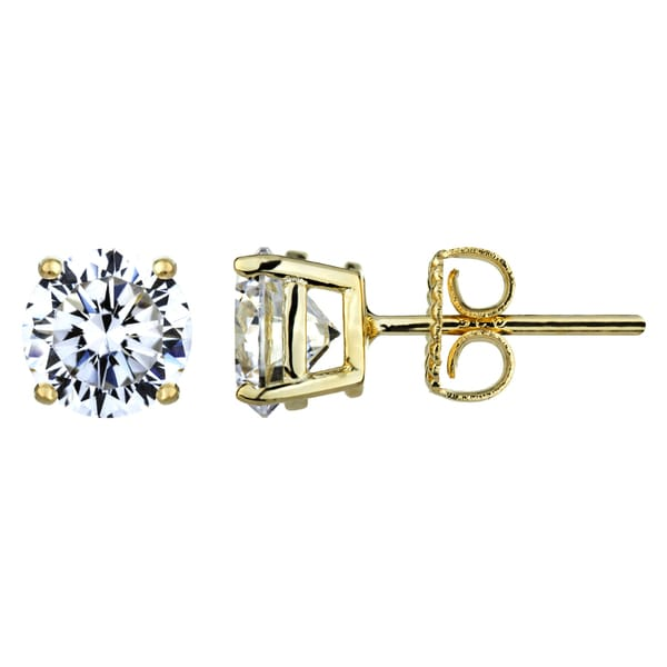 7mm Round Cut CZ Gold Stud Earrings