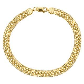 14k Yellow Gold Diamond-Cut Beaded Fancy Bracelet