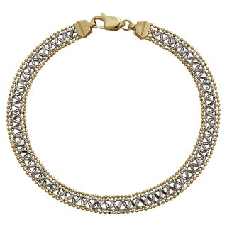 14k Two-Tone Gold Diamond-Cut Beaded Fancy Bracelet
