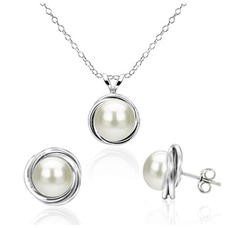DaVonna Sterling Silver White Bazel Design Freshwater Cultured Pearl Pendant 8-9mm and 7-8mm Stud Earrings Set