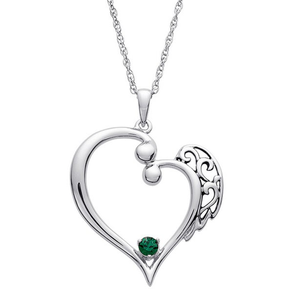 Sterling Silver Always My Angel Birthstone Pendant
