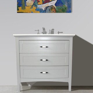 Grey Finish Solid White Quartz Marble Top 36 inch Single Sink Bathroom Vanity