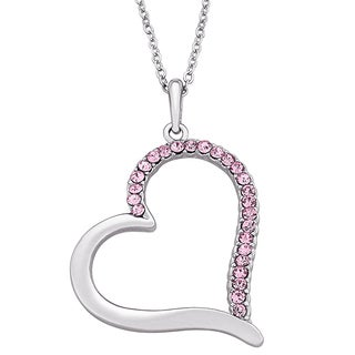 Sterling Silver Pink Rhinestone Heart Necklace