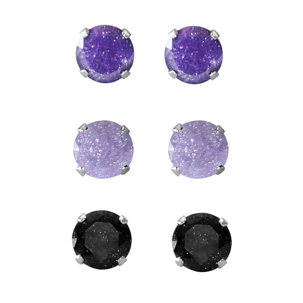 Set of 3-pair Sterling Silver 4.25-mm Violet Light Purple, Black Ice Cubic Zirconia Stud Earrings