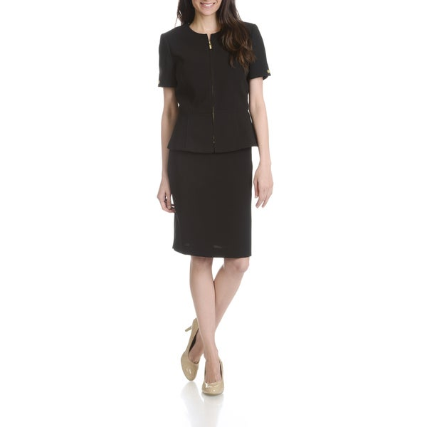 Tahari Arthur S. Levine Women's Black Zip Front 2-piece Skirt Suit