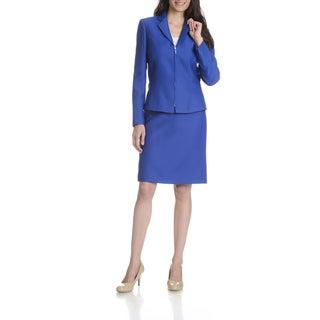 Tahari Arthur S. Levine Women's Royal Blue Textured 2-piece Skirt Suit