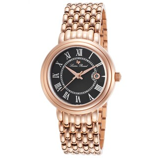 Lucien Piccard Fantasia Rose-Tone Stainless Steel Black Dial Watch