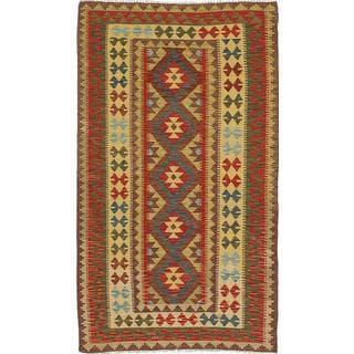 ecarpetgallery Handmade Anatolian Beige and Red Wool Kilim Rug (3'7 x 6'5)