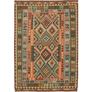 ecarpetgallery Handmade Anatolian Blue and Green Wool Kilim Rug (4'11 x 7'1)