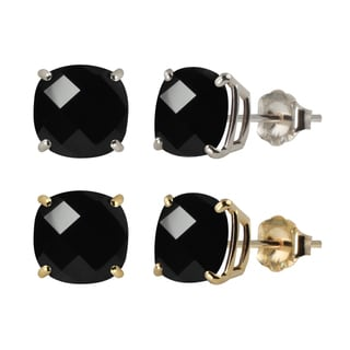 10k White or Yellow Gold 6mm Checkerboard Cushion Black Onyx Stud Earrings