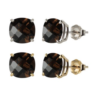10k White or Yellow Gold 8mm Checkerboard Cushion Smoky Quartz Stud Earrings