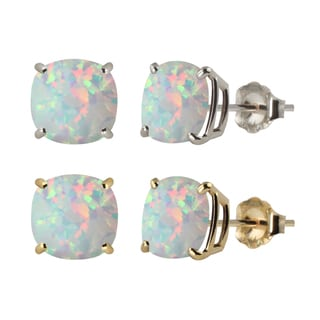 10k White or Yellow Gold 8mm Checkerboard Cushion Lab-created Opal Stud Earrings